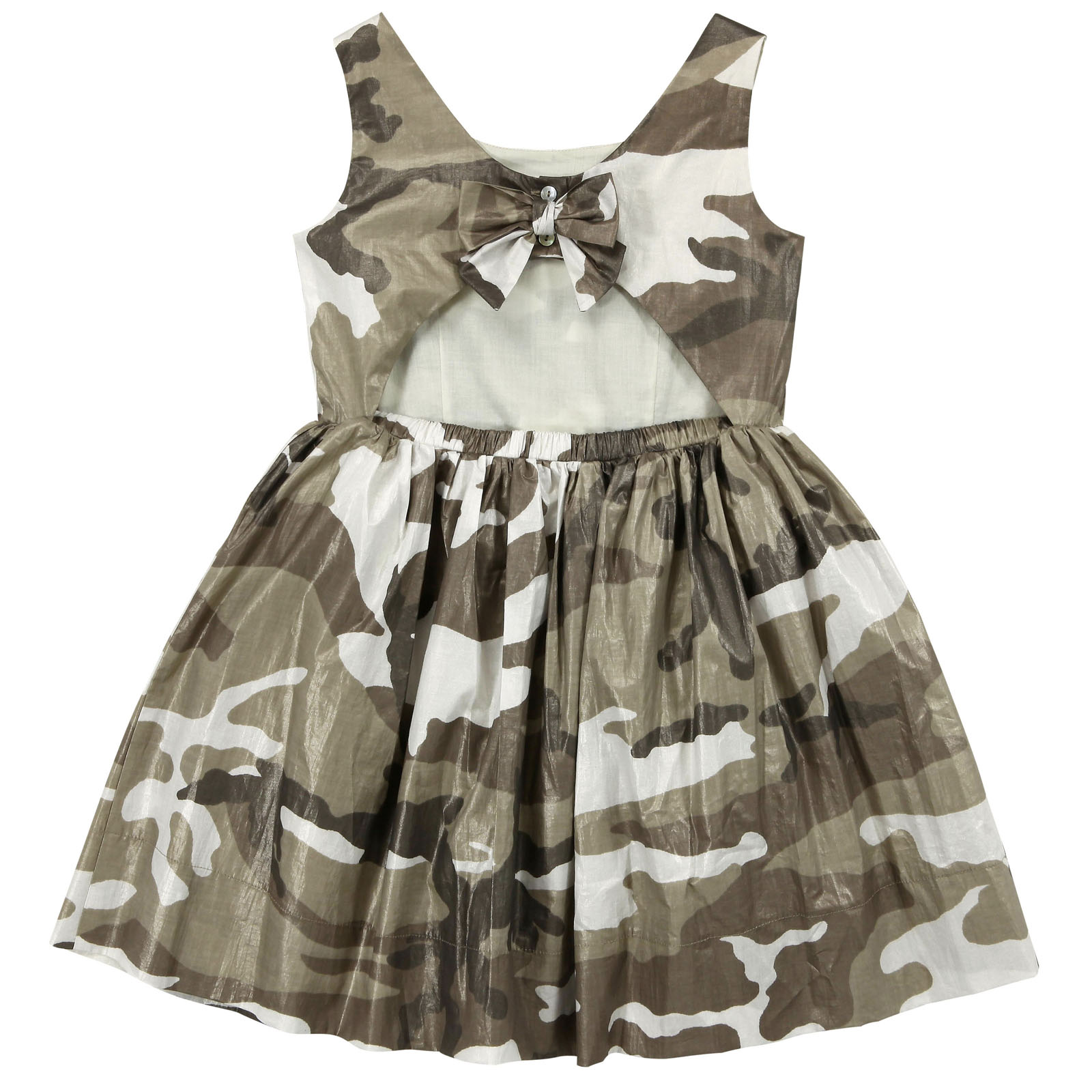 Jakioo by Monnalisa beige and brown camouflage dress
