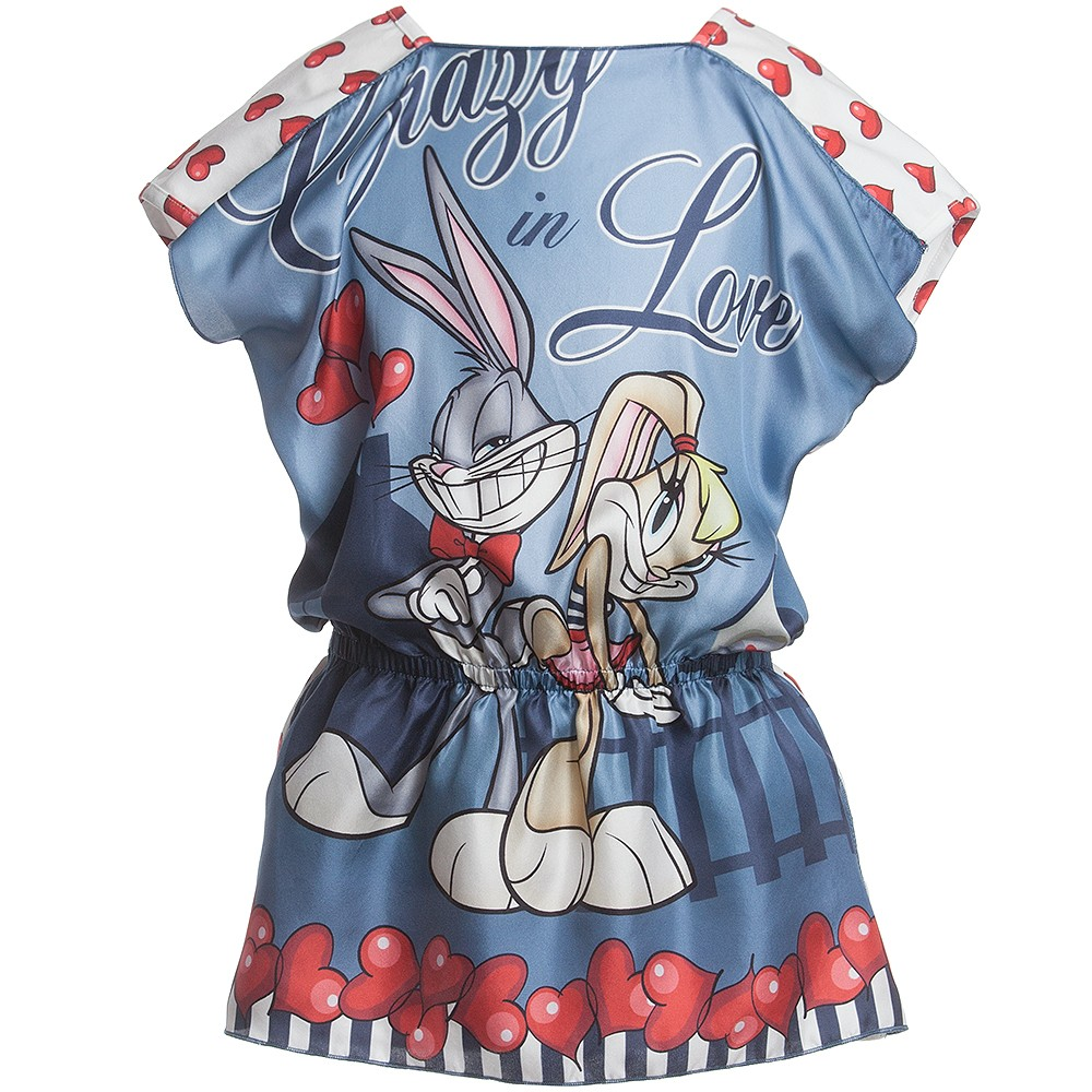 Monnalisa silk top with bunny cartoons print