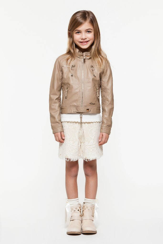Beige leatherette jackets and magnolia white lace shorts