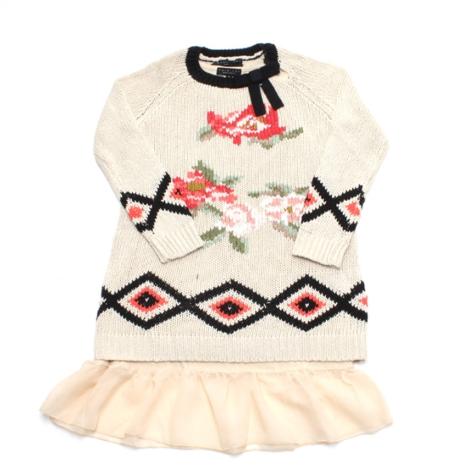 Beige knitted cotton dress with flowers and a bow
