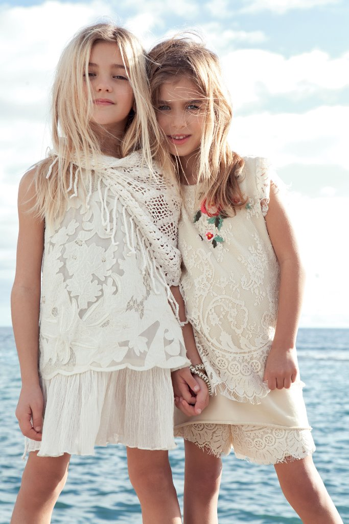 White and beige dresses with lace