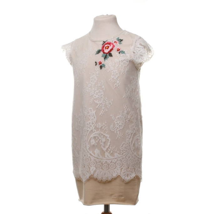 Beige cotton dress with embroidered flowers and lace