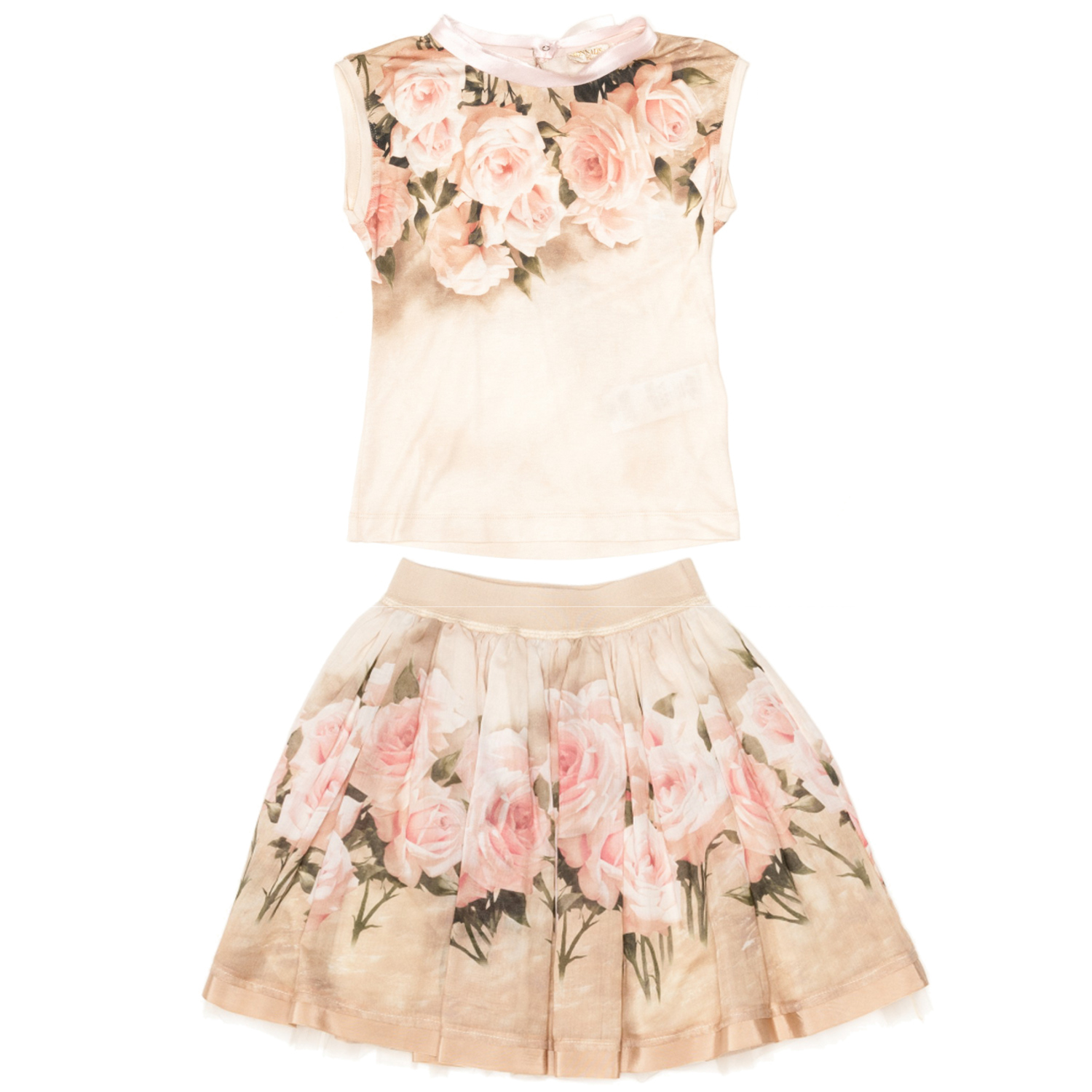 Monnalisa Chic beige cotton t-shirt and skirt with rose print