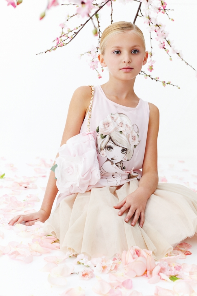 Monnalisa Chic spring ivory jersey t-shirt and tulle skirt