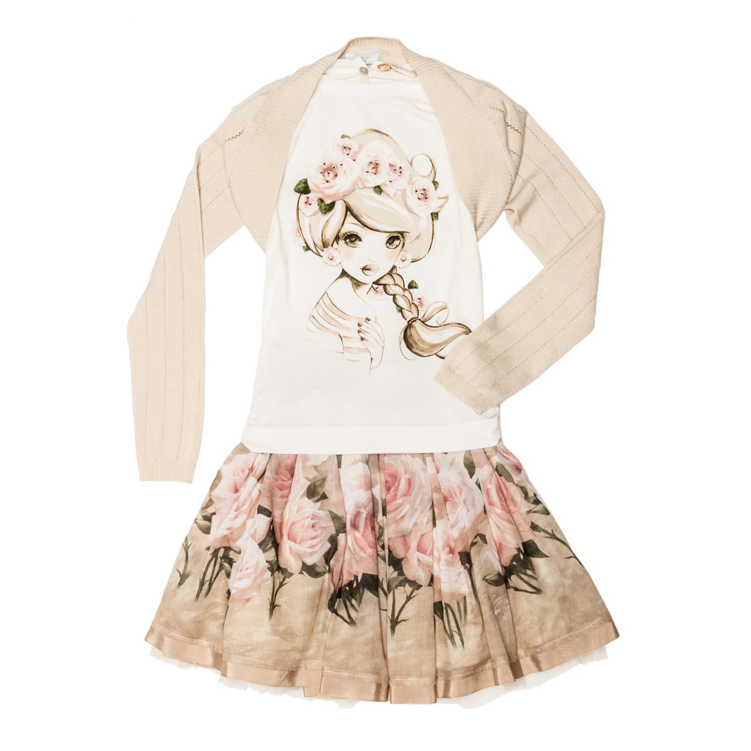 Monnalisa Chic ivory t-shirt and skirt with rose print