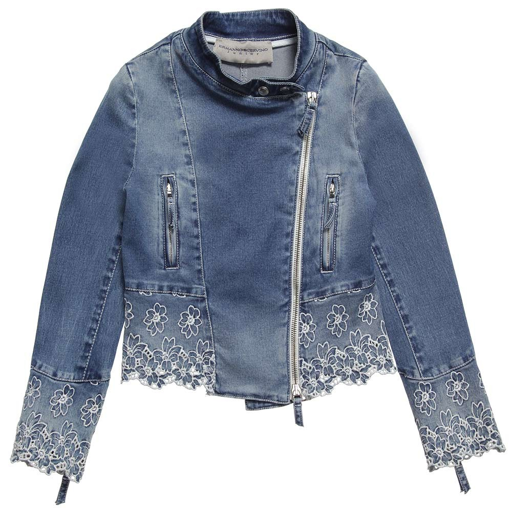 Ermanno Scervino elegant blue denim jacket with white floral embroidery