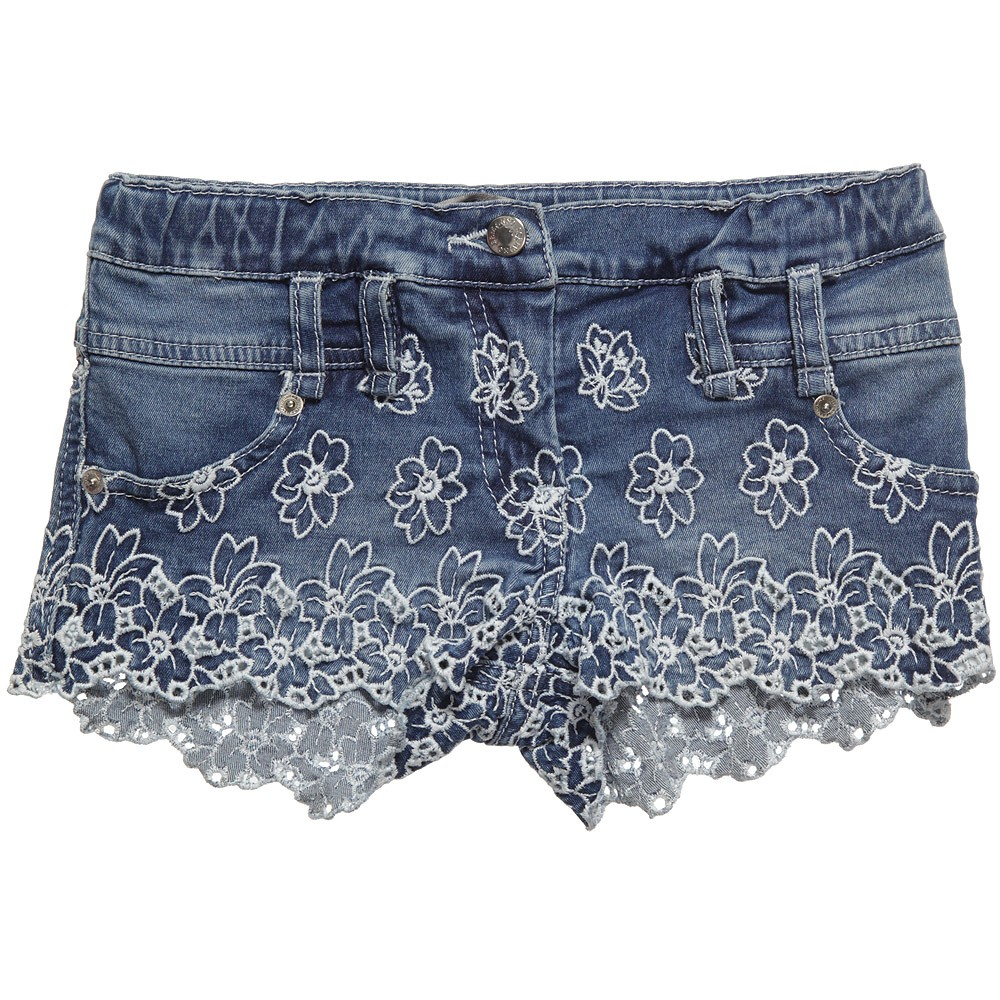 Ermanno Scervino elegant blue denim shorts with white floral embroidery