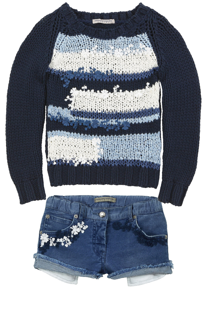 Ermanno Scervino blue denim shorts with appliqué blue and white flowers