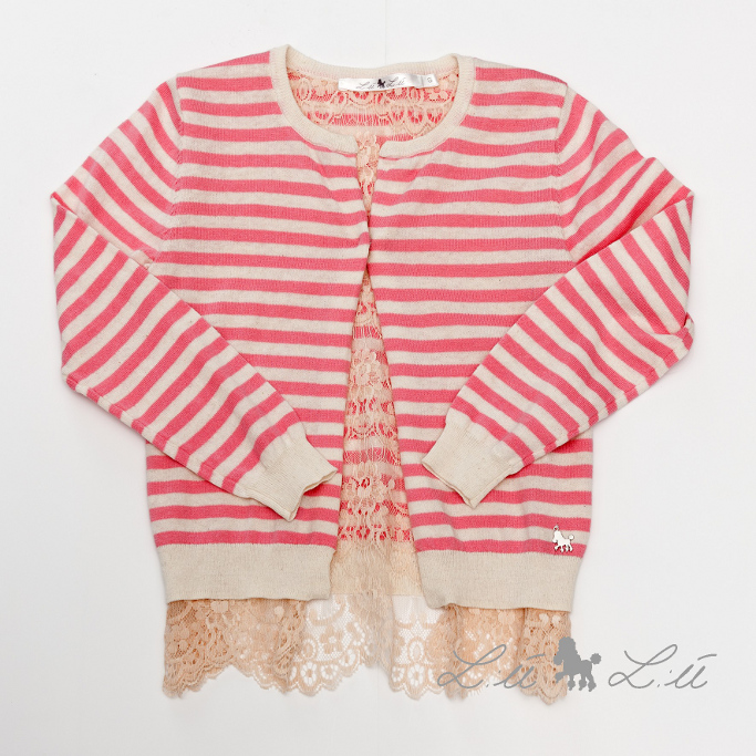 L:ú L:ú by Grant beige and pink sweater with lace