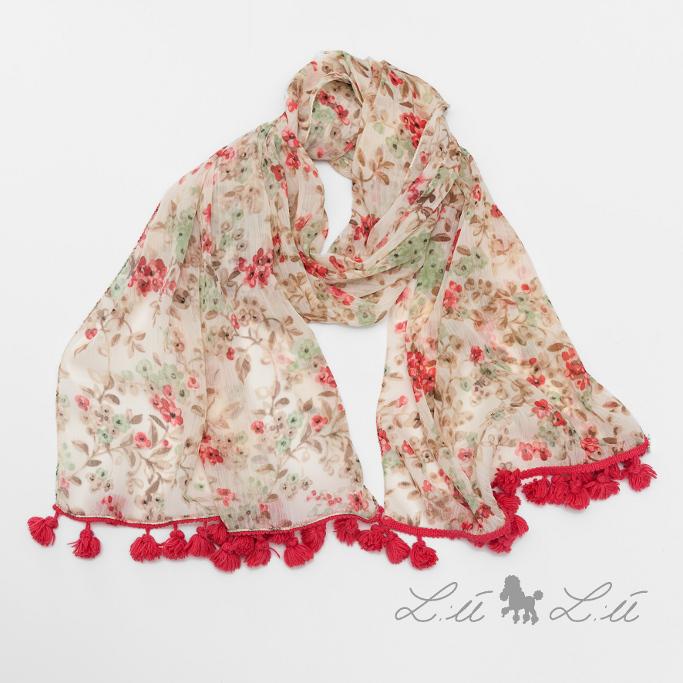 L:ú L:ú by Grant pink floral print silk scarf