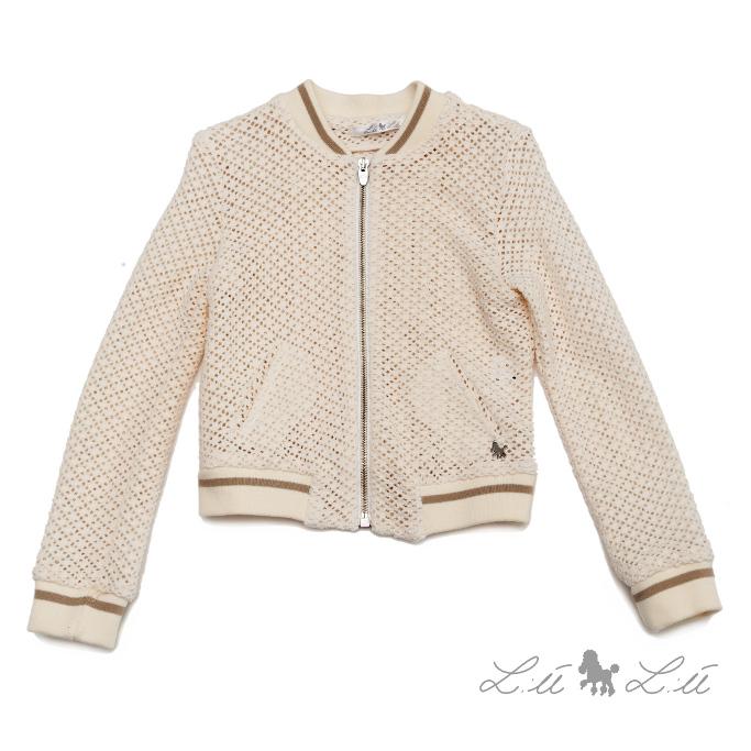 L:ú L:ú by Grant beige lacy cardigan