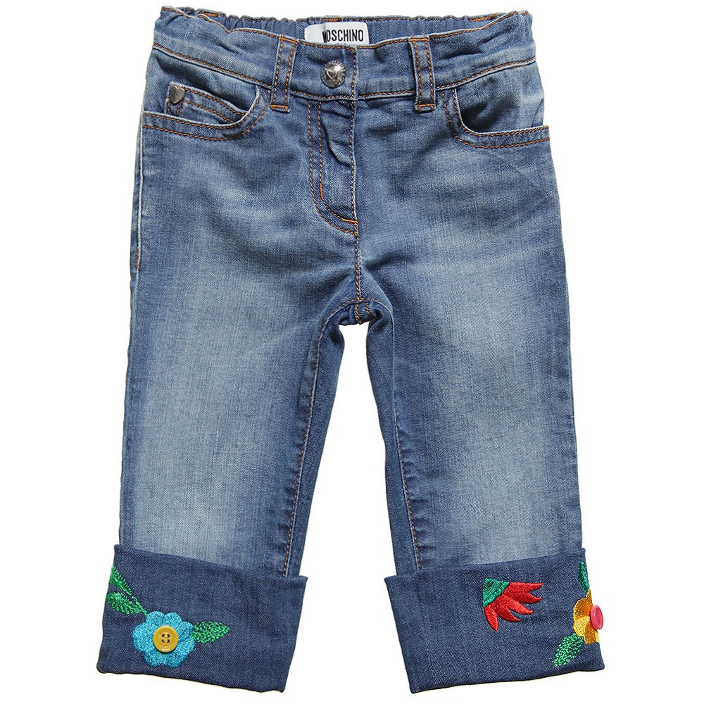 Moschino denim trousers with flowers
