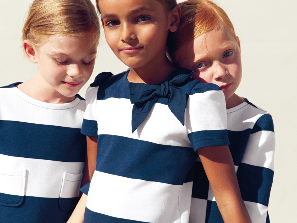 Il Gufo jersey dresses with thick navy blue and white stripes