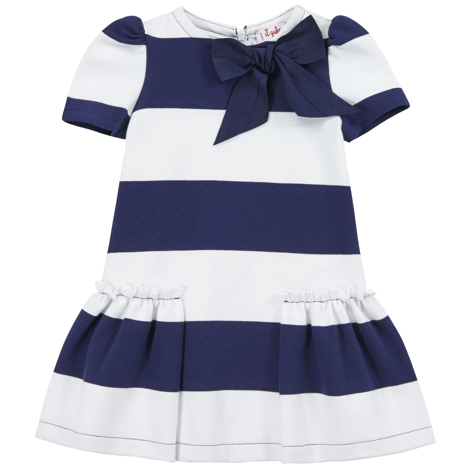 Il Gufo jersey dress with thick navy blue and white stripes