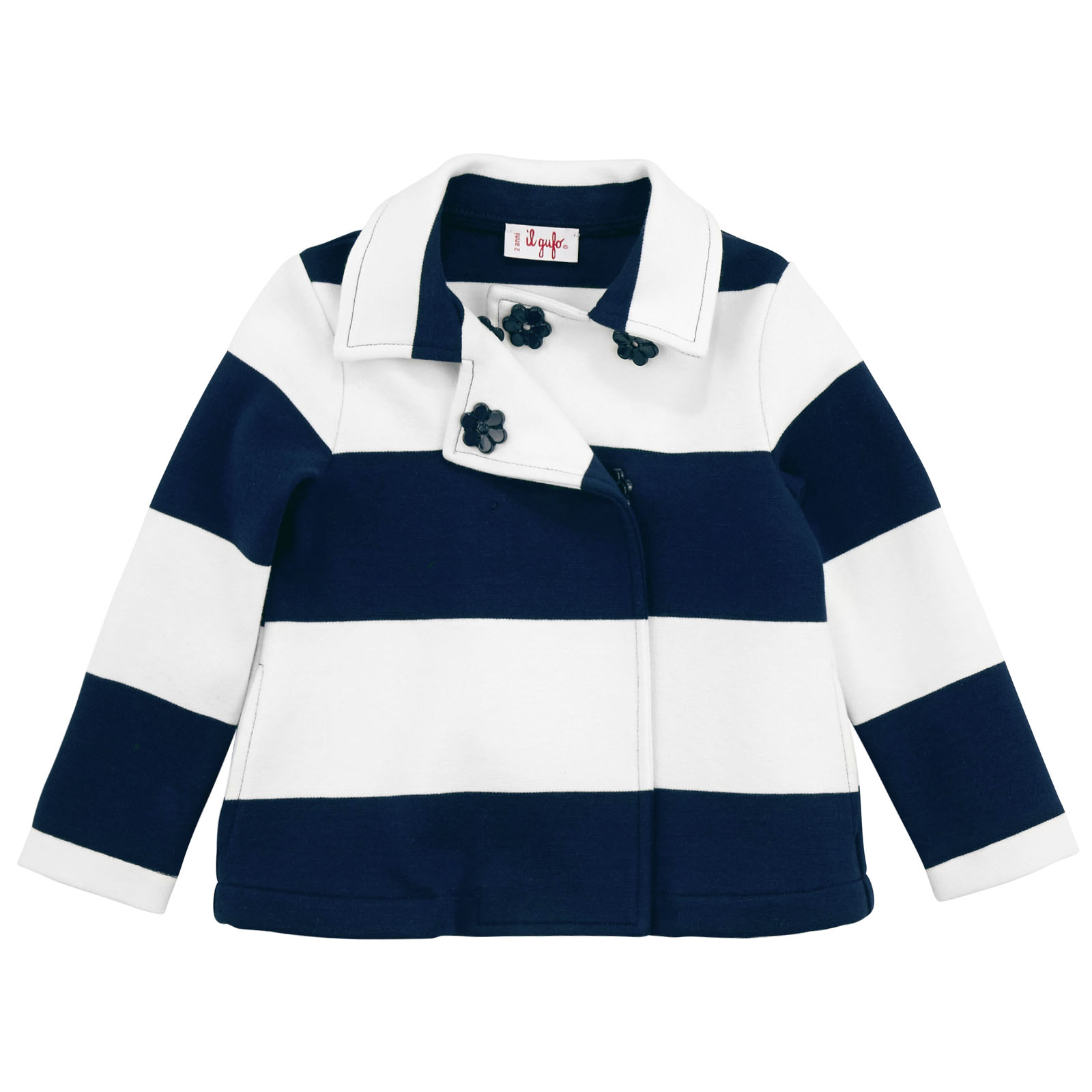 Il Gufo jersey jacket with thick navy blue and white stripes