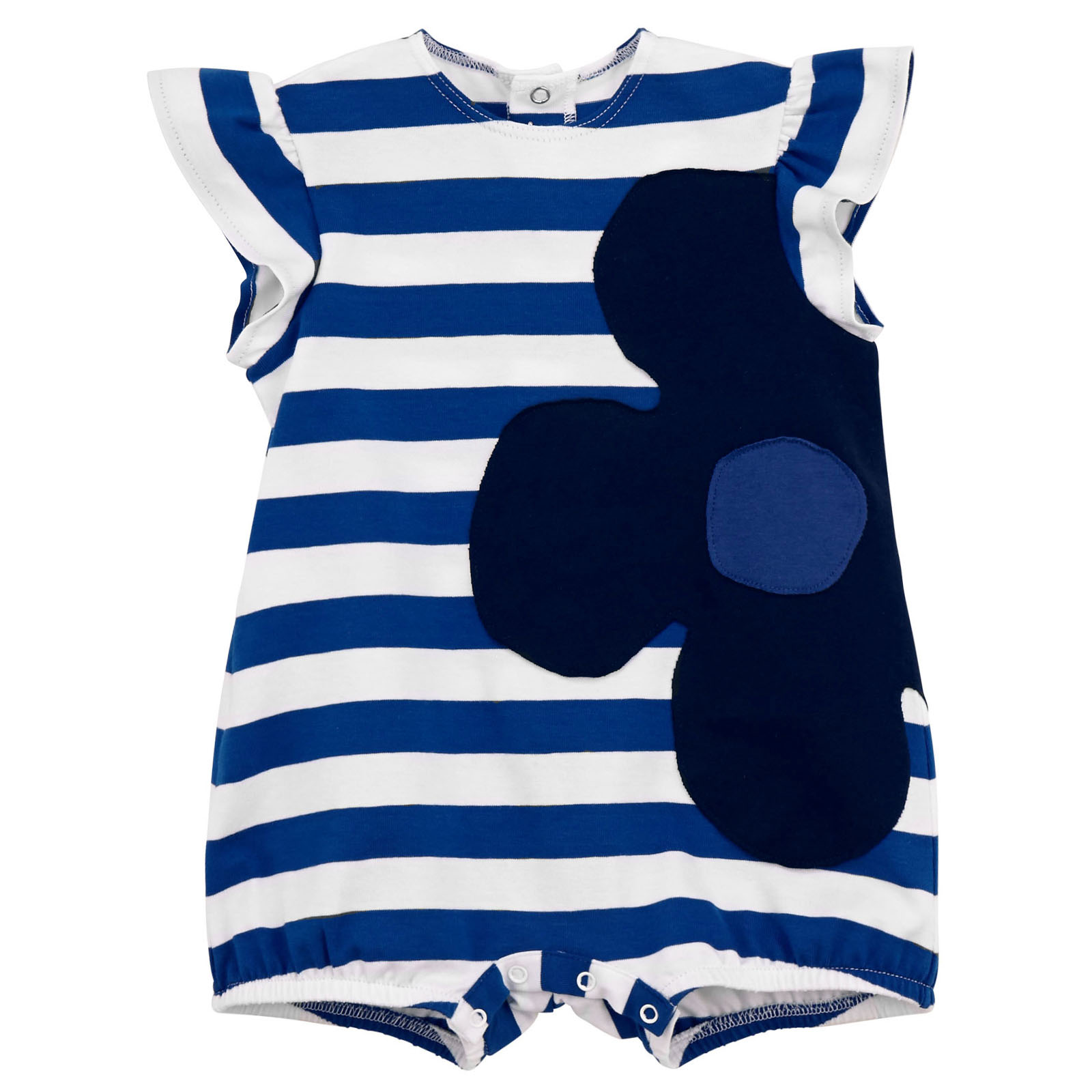 Il Gufo jersey jumpsuit with thin electric blue and white stripes