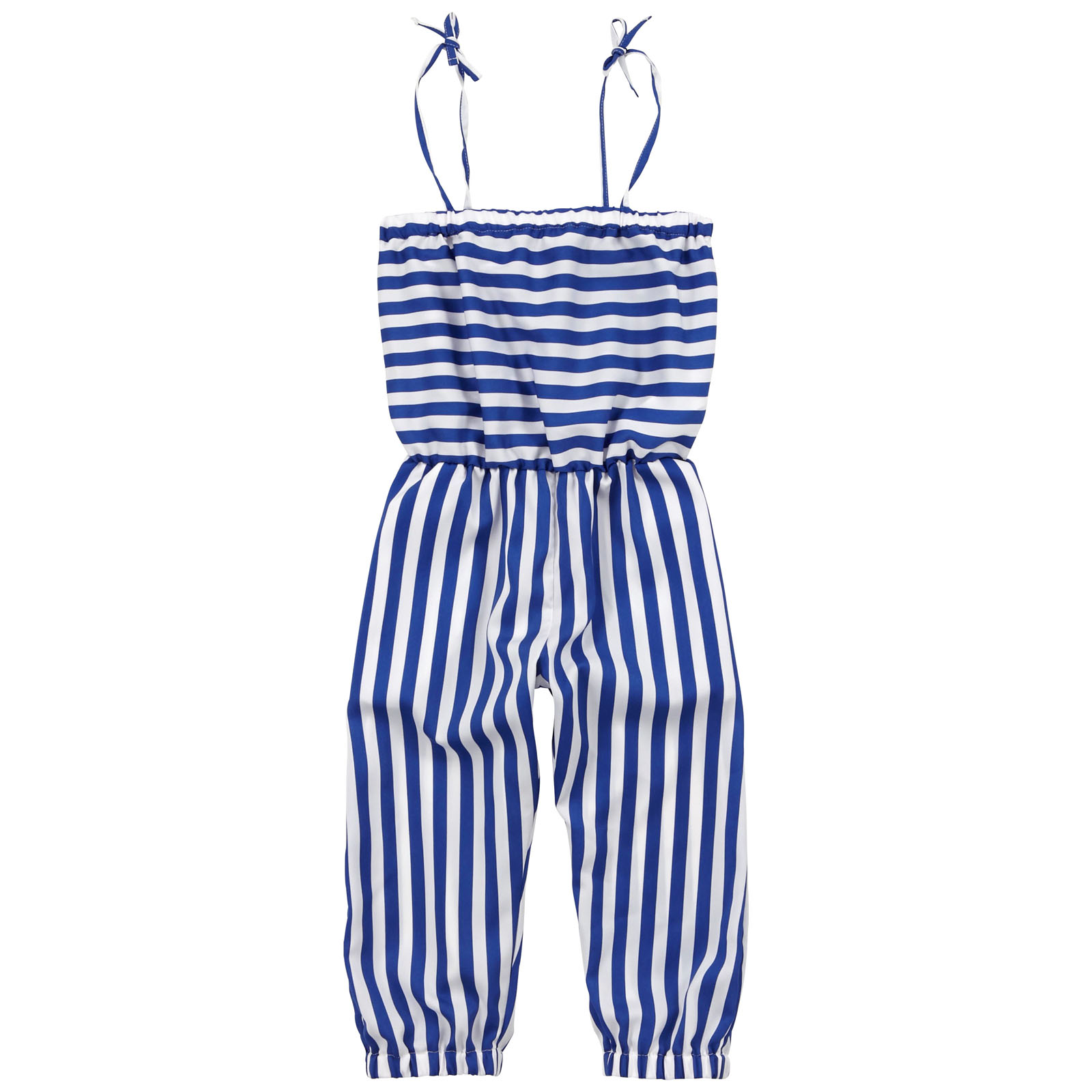 Il Gufo polyester jumpsuit with thin electric blue and white stripes.