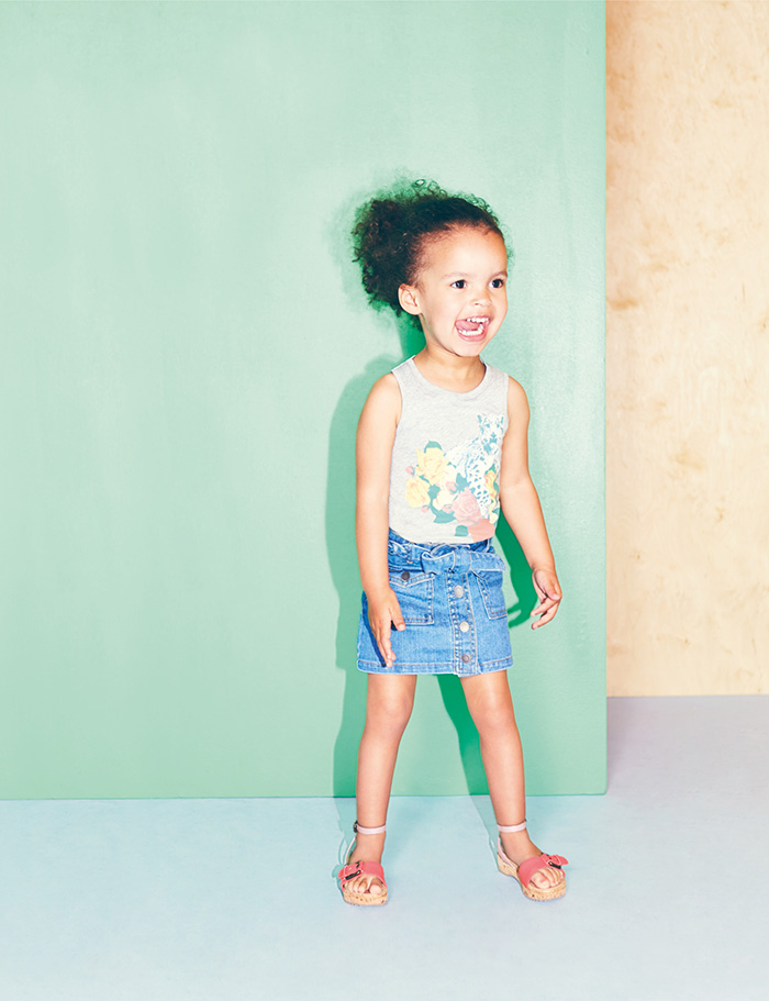 Stella McCartney Kids Spring Summer 2014 grey tanks with leopard and flowers prints
