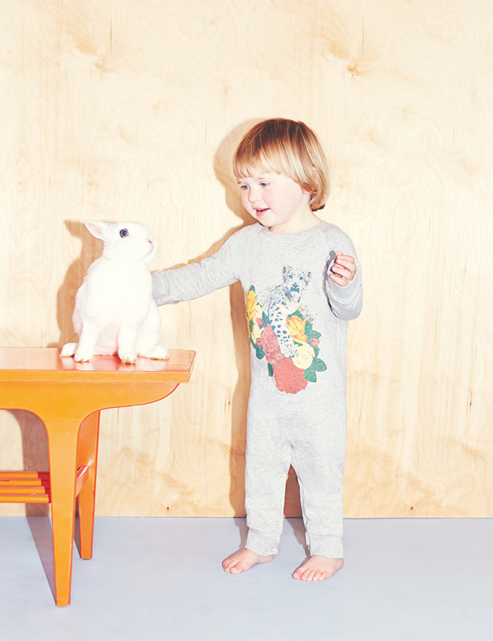 Stella McCartney Kids Spring Summer 2014 grey all in one with leopard and flowers prints