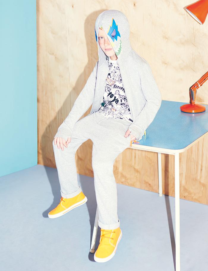 Stella McCartney Kids Spring Summer 2014 cotton grey hooded bandit sweatshirt