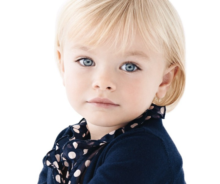 Armani Junior spring 2014 polka dots and solid blue