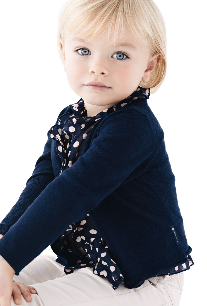 Armani Junior Spring Summer 2014, solid blue cardigan with polka-dots shirt