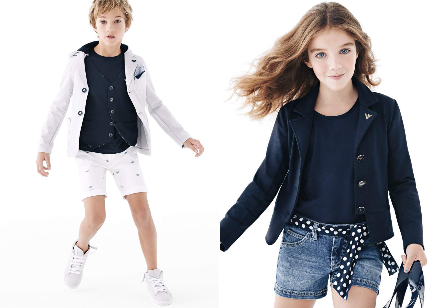 Armani Junior Spring Summer 2014, solid blue looks for boy and girl