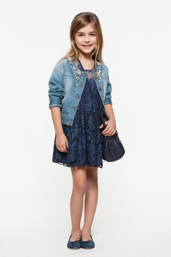 Twin-set Girl Spring Summer 2014, blue lace dress