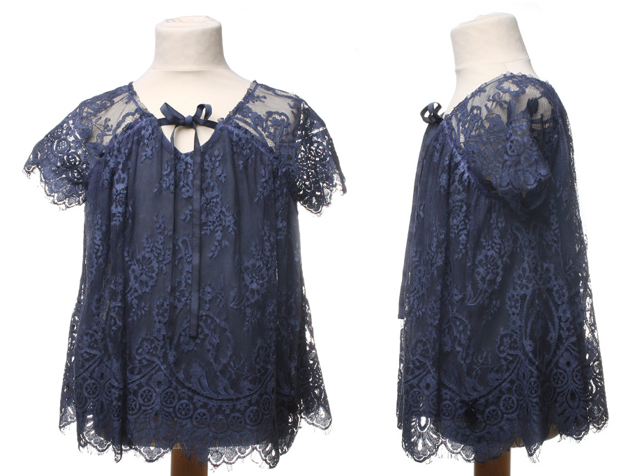 Twin-set Girl Spring Summer 2014, blue lace blouse
