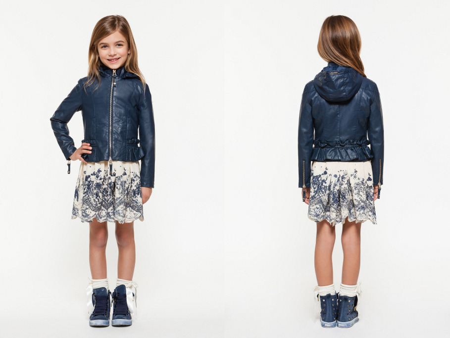 Twin-set Girl Spring Summer 2014, blue leatherette jacket