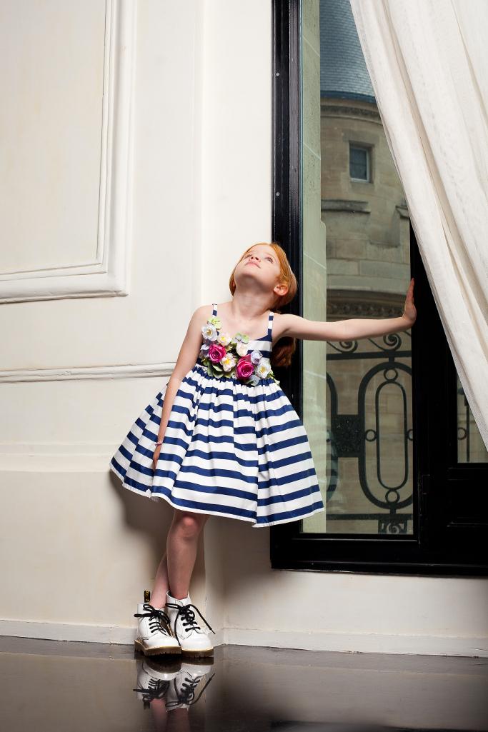 Junior Gaultier Spring 2015, white and blue striped silk dress