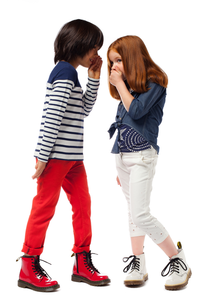 Junior Gaultier Spring 2015, the blue, white, and red colour pallette.