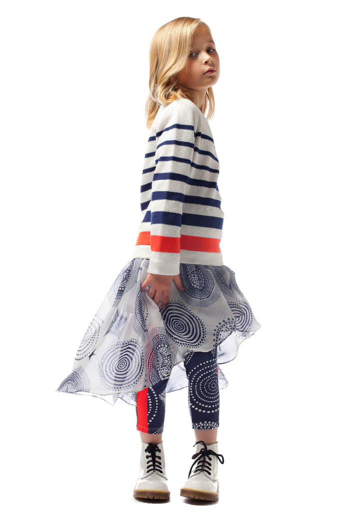 Junior Gaultier Spring 2015, the stripes combined with the polka dot motif