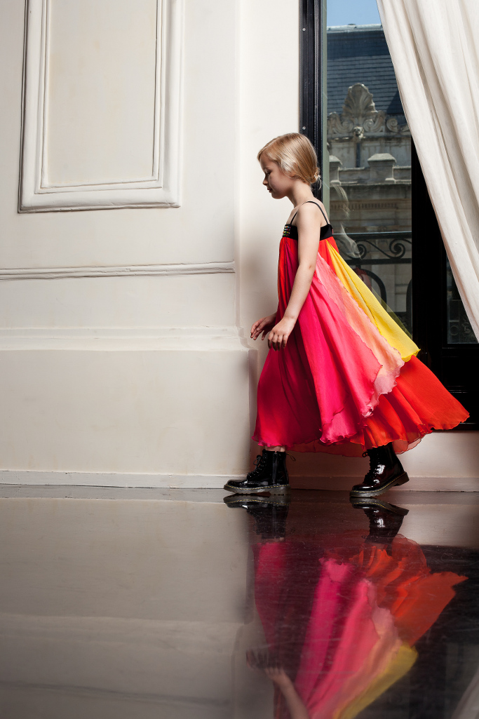 Junior Gaultier Spring 2015, the bright fuchsia, yellow, and orange look.