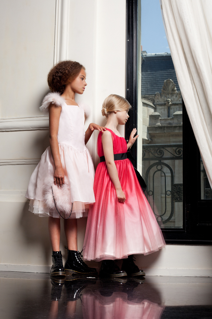 Junior Gaultier Spring 2015, sofisticated dress in red shades