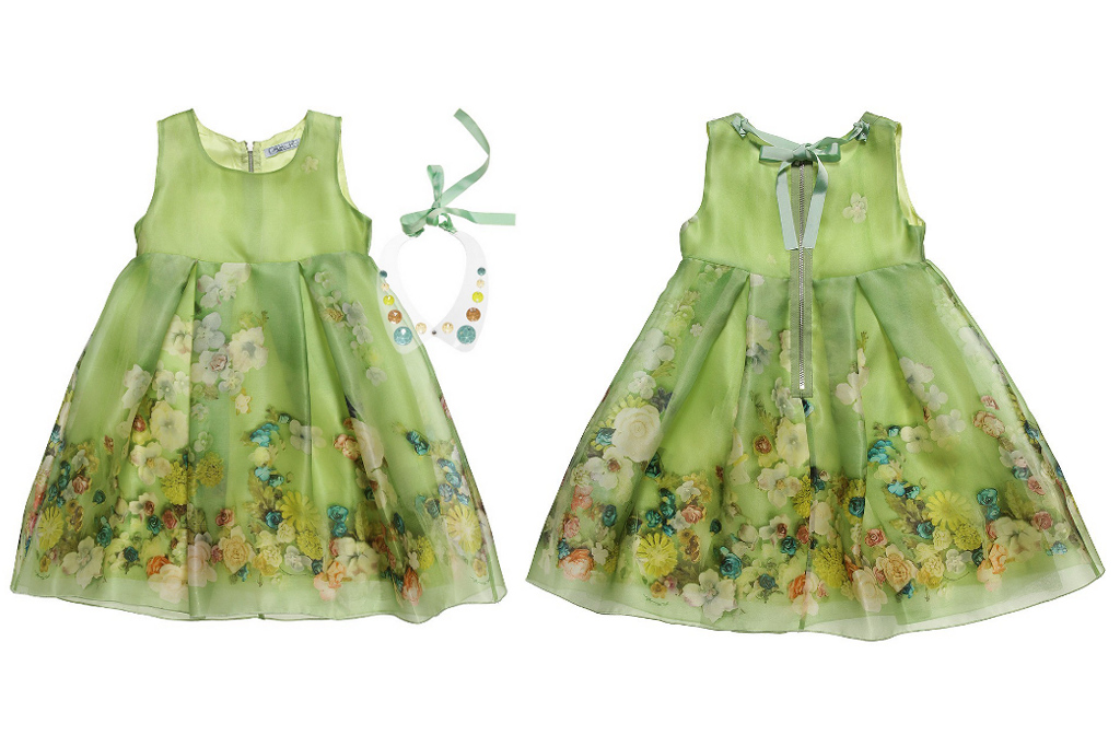 Mi Mi Sol Spring Summer 2014, green organza silk dress