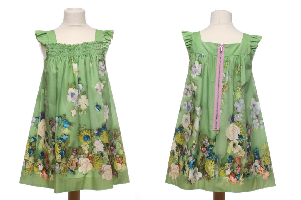 Mi Mi Sol Spring Summer 2014, green cotton popeline dress