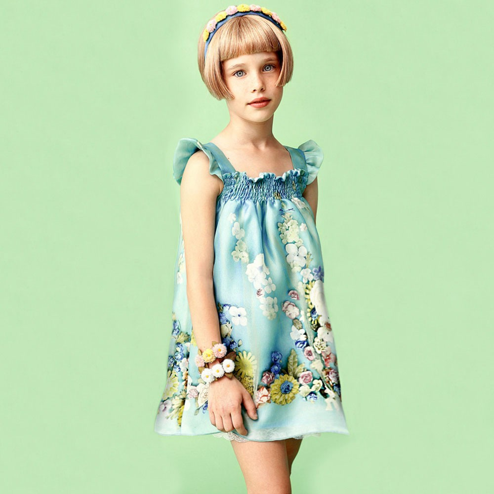 Mi Mi Sol Spring Summer 2014, blue cotton popeline dress