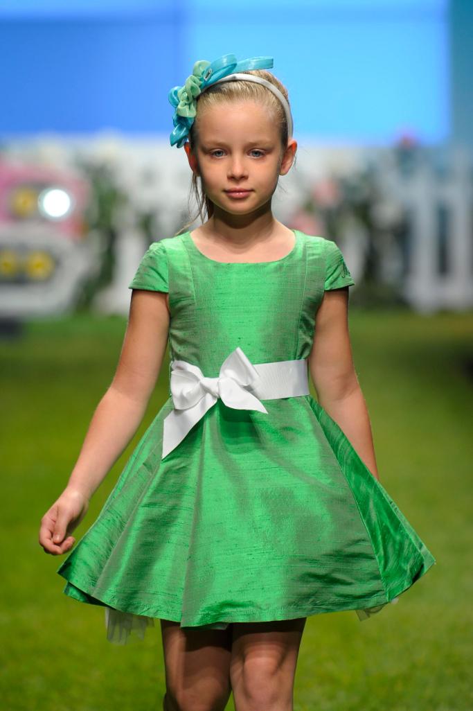Pitti Bimbo Miss Blumarine Spring 2014 green dress