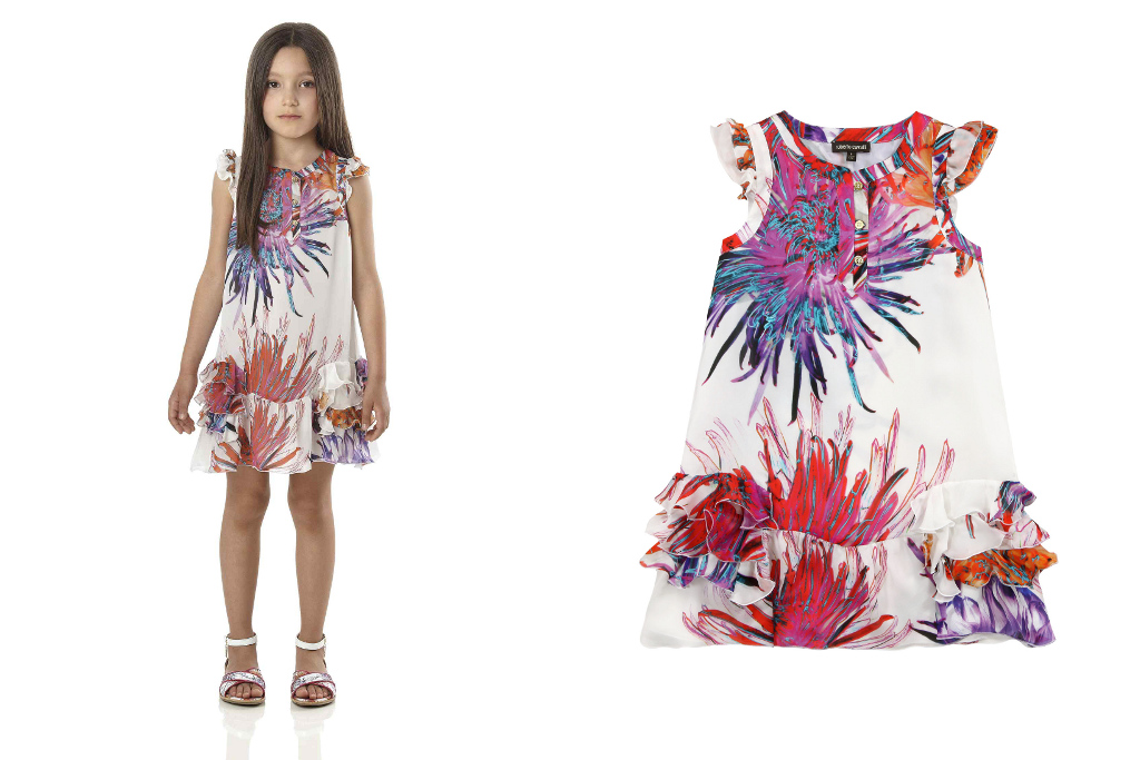 Roberto Cavalli Junior Spring Summer 2014, Tropical Flowers dress