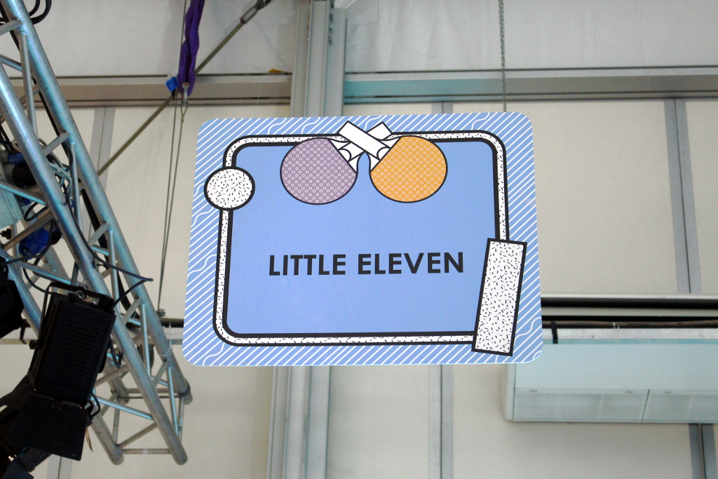 Little Eleven Paris spring 2015, stand sign at Pitti Bimbo 79.