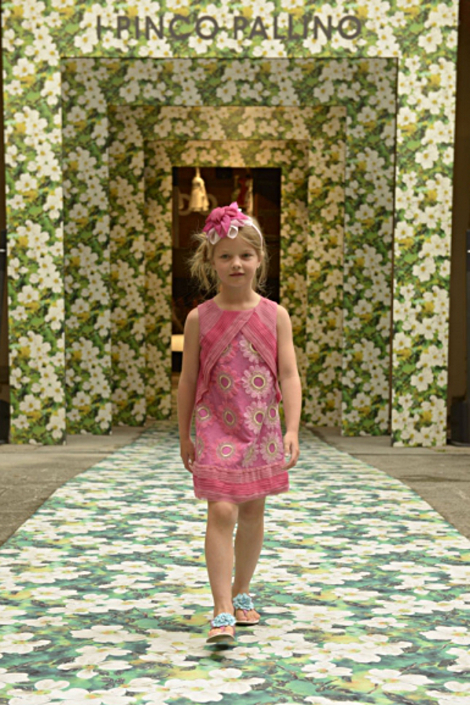 I Pinco Pallino spring 2015, a dark pink dress with flowers