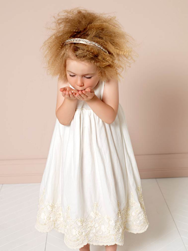 Twin-set Girl spring 2015, white dress from the newborn collection