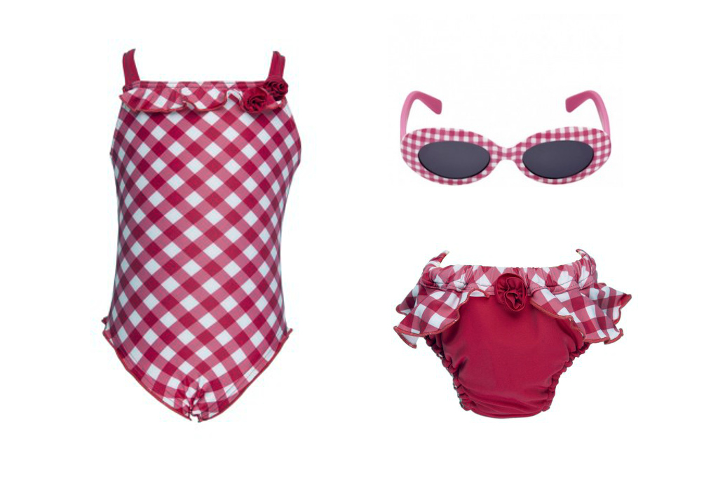 """Archimede spring 2014, """"Vichy fuchsia"""" one piece and swim pants"""