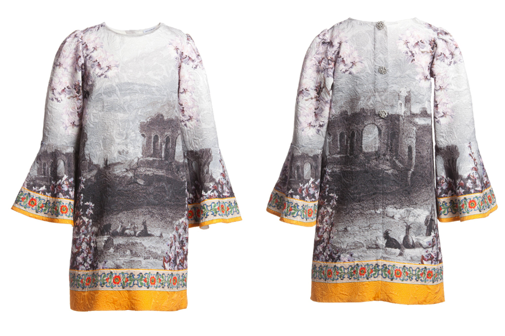 Dolce and Gabbana Spring 2014, long sleeves dress with a temple landscape print
