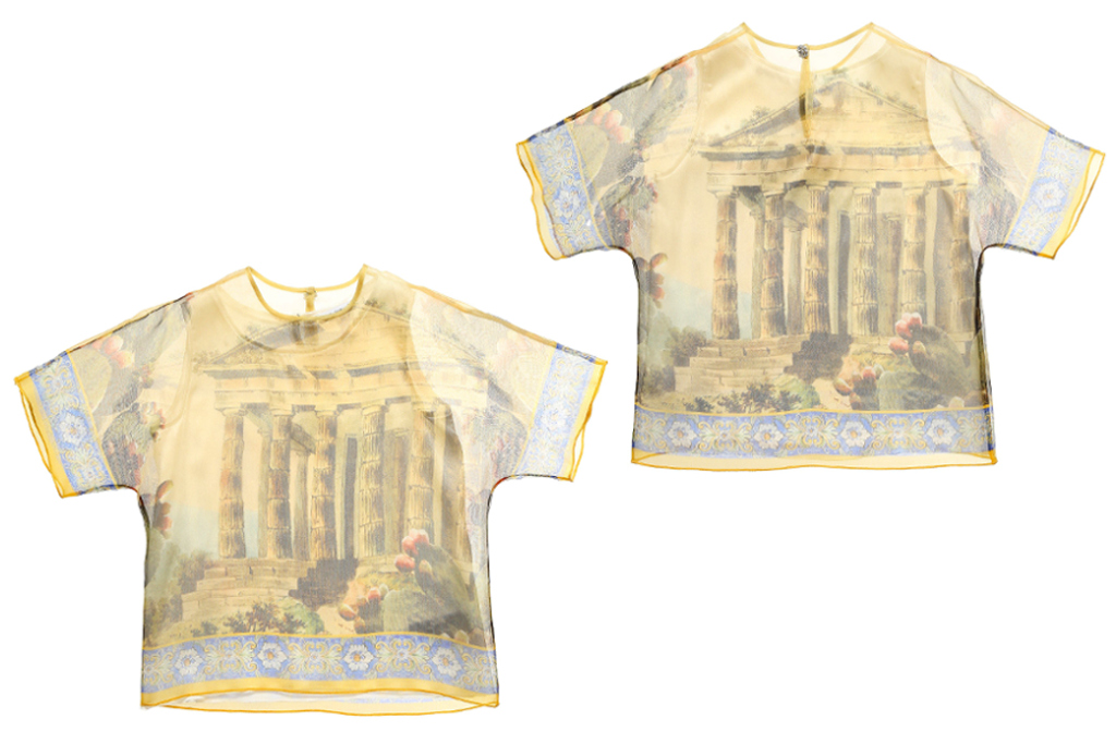 Dolce and Gabbana Spring 2014, silk organza blouse with a temple print