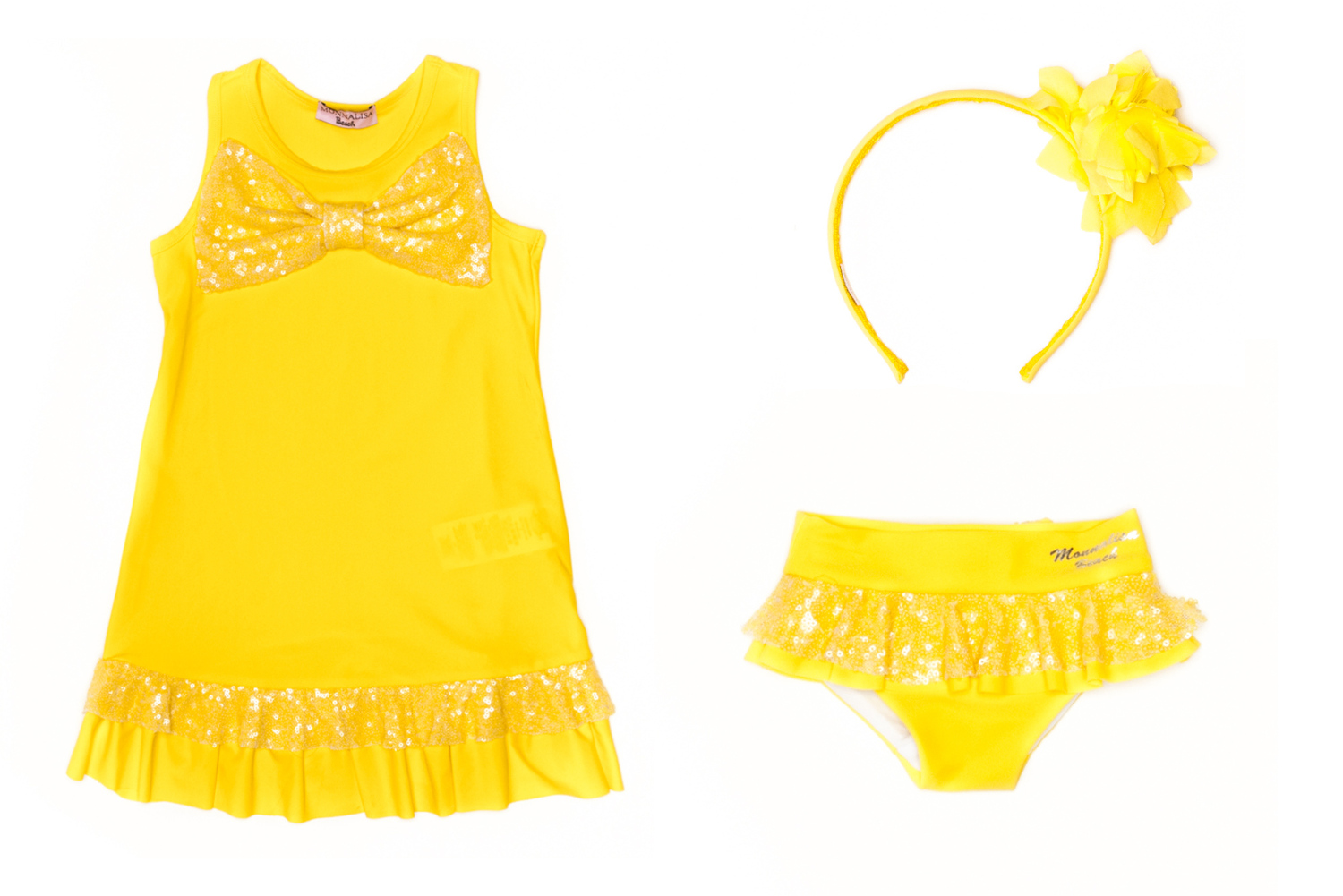 "Monnalisa spring 2014, ""summer in Santorini"" theme in yellow"