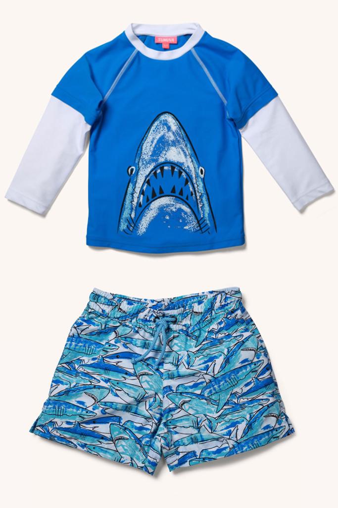 Sunuva spring 2014, rash vest and shorts shark print for boys