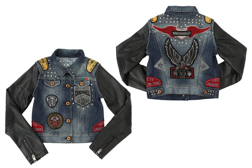 Diesel kids 30th anniversary tribute collection, girl denim and leather jacket