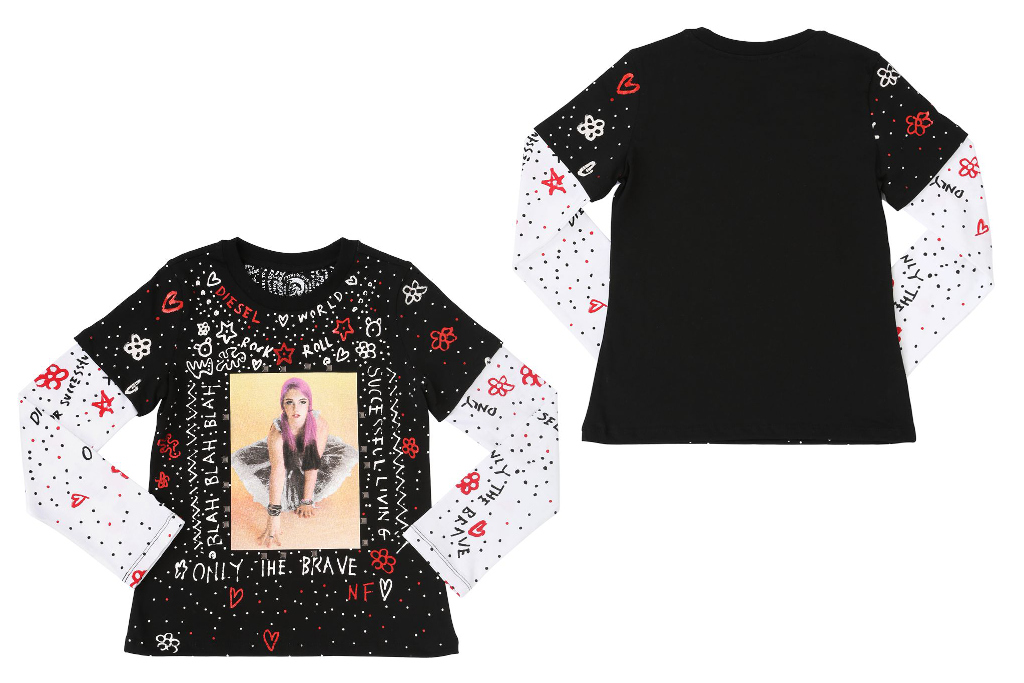 Diesel Kids 30th anniversary capsule collection, girl all over printed t-shirt